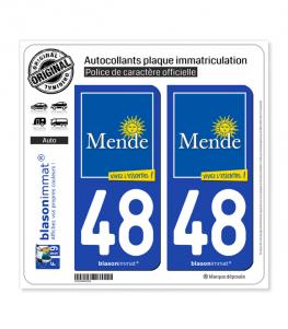 48 Mende - Ville | Autocollant et plaque immatriculation