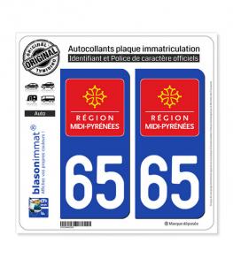 65 Midi-Pyrénées - LogoType | Autocollant plaque immatriculation