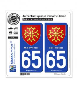 65 Midi-Pyrénées - Armoiries | Autocollant plaque immatriculation
