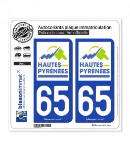 65 Hautes-Pyrénées - Département | Autocollant plaque immatriculation