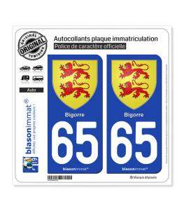 65 Bigorre - Armoiries | Autocollant plaque immatriculation