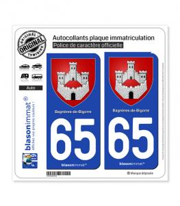 65 Bagnères-de-Bigorre - Armoiries | Autocollant plaque immatriculation