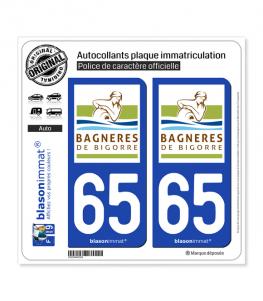 65 Bagnères-de-Bigorre - Ville | Autocollant plaque immatriculation