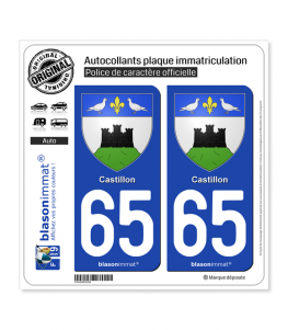 65 Castillon - Armoiries | Autocollant plaque immatriculation