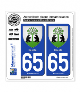 65 Escots - Armoiries | Autocollant plaque immatriculation