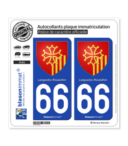 66 Languedoc-Roussillon - Armoiries | Autocollant plaque immatriculation