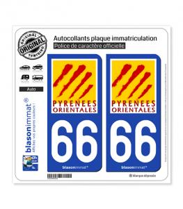 66 Pyrénées-Orientales - Département | Autocollant plaque immatriculation
