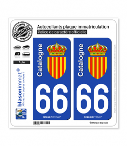66 Catalogne - Armoiries | Autocollant plaque immatriculation