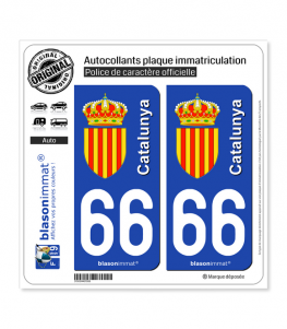 66 Catalunya - Armoiries | Autocollant plaque immatriculation