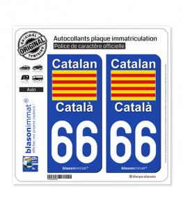 66 Catalan - Drapeau | Autocollant plaque immatriculation