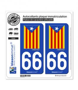 66 Catalunya - Estelada Blava | Autocollant plaque immatriculation