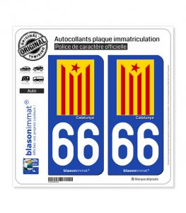 66 Catalunya - Estelada Roja | Autocollant plaque immatriculation