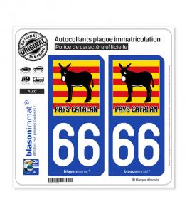 66 Pays Catalan - Burro Drapé | Autocollant plaque immatriculation