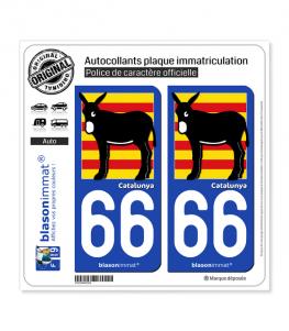 66 Catalunya - Burro Drapé | Autocollant plaque immatriculation