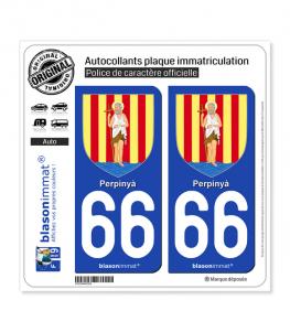 66 Perpinyà - Armoiries | Autocollant plaque immatriculation