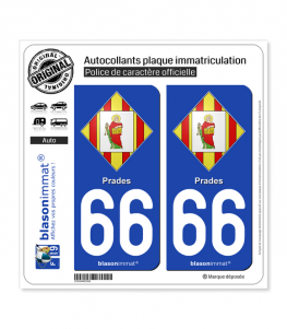 66 Prades - Armoiries | Autocollant plaque immatriculation