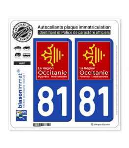 81 Occitanie - LogoType | Autocollant plaque immatriculation