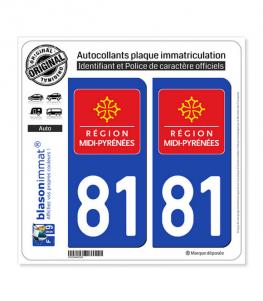 81 Midi-Pyrénées - LogoType | Autocollant plaque immatriculation