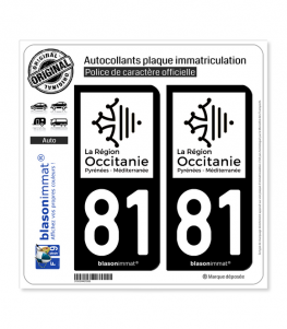 81 Occitanie - LogoType N&B | Autocollant plaque immatriculation