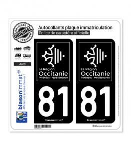 81 Occitanie - LogoType Black | Autocollant plaque immatriculation