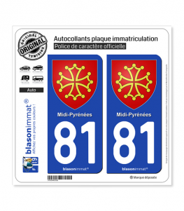 81 Midi-Pyrénées - Armoiries | Autocollant plaque immatriculation