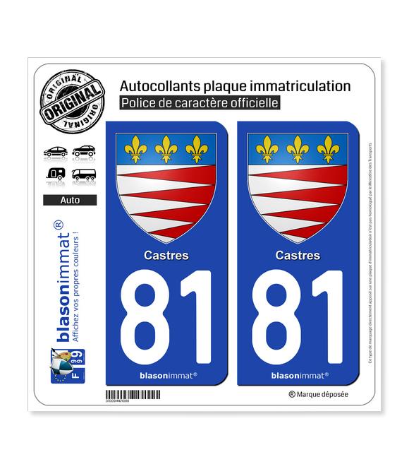 81 Castres - Armoiries   Autocollant plaque immatriculation