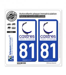 81 Castres - Ville | Autocollant plaque immatriculation