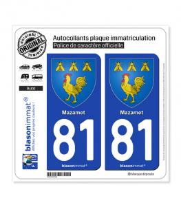 81 Mazamet - Armoiries | Autocollant plaque immatriculation