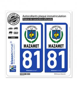 81 Mazamet - Ville | Autocollant plaque immatriculation