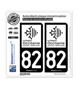 82 Occitanie - LogoType N&B | Autocollant plaque immatriculation