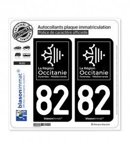 82 Occitanie - LogoType Black | Autocollant plaque immatriculation