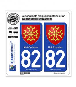 82 Midi-Pyrénées - Armoiries | Autocollant plaque immatriculation