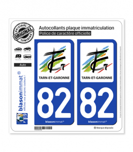82 Tarn-et-Garonne - Département | Autocollant plaque immatriculation