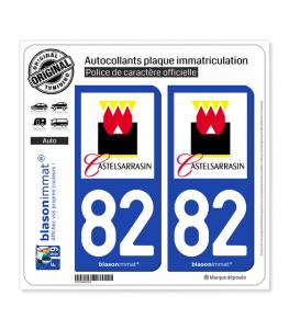 82 Castelsarrasin - Ville | Autocollant plaque immatriculation