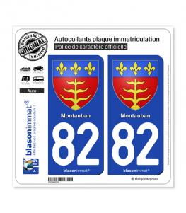 82 Montauban - Armoiries | Autocollant plaque immatriculation