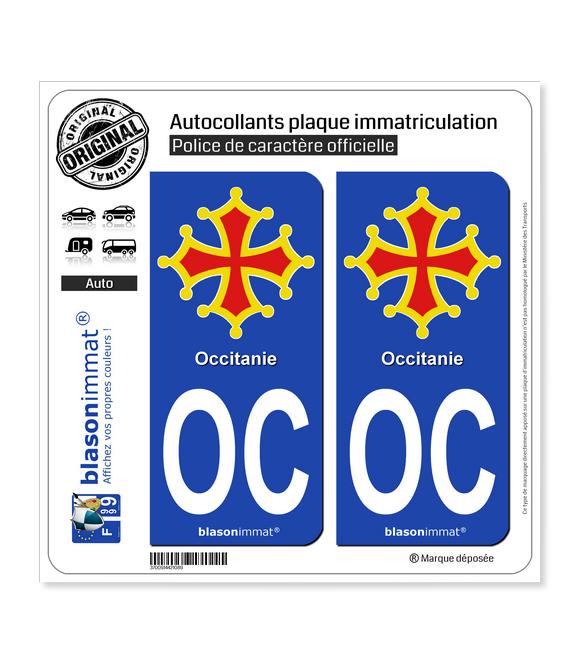 OC Occitanie - Croix II | Autocollant plaque immatriculation