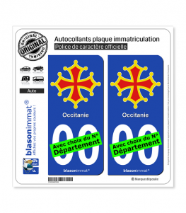 Occitanie - Croix II | Autocollant plaque immatriculation