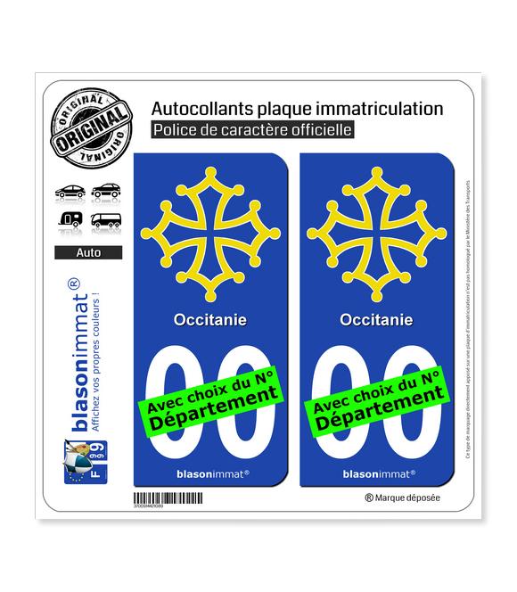 Occitanie - Croix | Autocollant plaque immatriculation