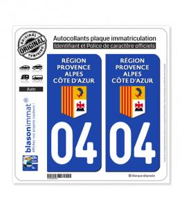 04 Région Sud - LogoType | Autocollant plaque immatriculation