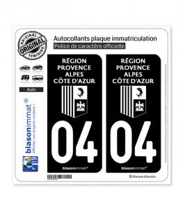 04 Région Sud - LogoType Black | Autocollant plaque immatriculation