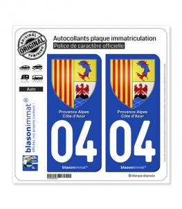 04 PACA - Armoiries | Autocollant plaque immatriculation