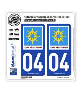 04 PACA - Terre Méditerranée | Autocollant plaque immatriculation
