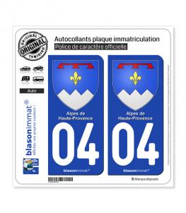 04 Alpes de Haute-Provence - Armoiries | Autocollant plaque immatriculation