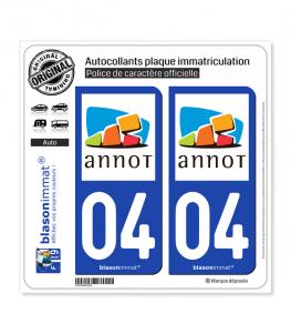04 Annot - Commune | Autocollant plaque immatriculation