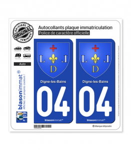 04 Digne-les-Bains - Armoiries | Autocollant plaque immatriculation