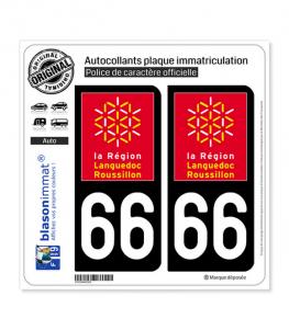 66 Languedoc-Roussillon - LogoType | Autocollant plaque immatriculation