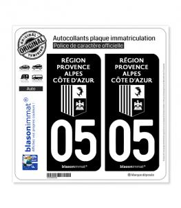 05 Région Sud - LogoType Black | Autocollant plaque immatriculation