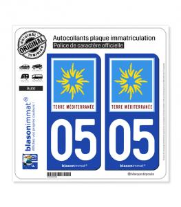 05 PACA - Terre Méditerranée | Autocollant plaque immatriculation