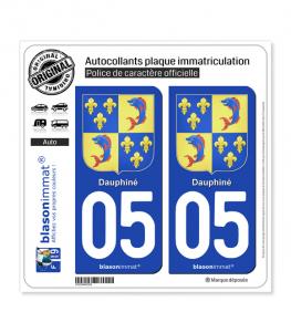 05 Dauphiné - Armoiries III | Autocollant plaque immatriculation