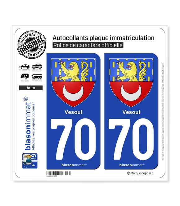 70 Vesoul - Armoiries | Autocollant plaque immatriculation